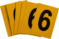 Brady Bradylite 5920-6 Black on Yellow Number Label - Outdoor - 1 in Width - 1 1/2 in Height - 1 in Character Height - B-997