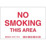 Brady B-302 Polyester Rectangle White No Smoking Sign - 5 in Width x 3.5 in Height - Laminated - 87797
