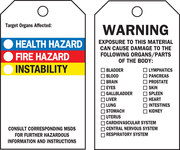 Brady 76229 Black / Blue / Red / Yellow on White Polyester Chemical Hazard Tag - 3 in Width - 5 3/4 in Height - B-851, B-674