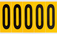 Brady 15 Series 1560-0 Black on Yellow Vinyl Number Label - Indoor / Outdoor - 1 3/4 in Width - 5 in Height - 3 7/8 in Character Height - B-946