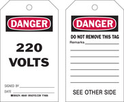 Brady 86481 Black / Red on White Polyester / Paper Equipment Safety Tag - 4 in Width - 7 in Height - B-837