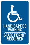Brady B-555 Aluminum Rectangle Blue Disabled Parking & Building Access Sign - 12 in Width x 18 in Height - 123872