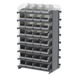 Akro-Mils 800 lb Blue / Green / Red / White / Yellow Gray Steel 16 ga Double Sided Fixed Rack - 36 3/4 in Overall Length - 64 Bins - Bins Included - APRD080
