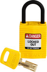 Brady SafeKey Yellow Nylon Plastic 6 pins Safety Padlock 150181 - 1 1/4 in Width - 1.65 in Height - 0.17 in Shackle Diameter - 1 Key(s) Included - 754473-60996