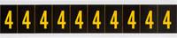 Brady 7897-4 Yellow on Black Vinyl Number Label - Indoor / Outdoor - 7/8 in Width - 2 1/4 in Height - 1 15/16 in Character Height - B-946