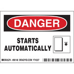 Brady 86148 Black / Red on White Polyester Equipment Safety Label - 5 in Width - 3 1/2 in Height - B-302