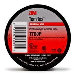 3M Temflex 1700P Insulating Tape - 3/4 in Width x 66 ft Length - 0.18 mm Thick - Electrically Insulating - 60051