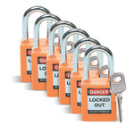 Brady Orange Nylon Steel 6-pin Keyed & Safety Padlock 123270 - 1 1/2 in Width - 1 3/4 in Height - 1/4 in Shackle Diameter - 1 Key(s) Included - 754473-72025