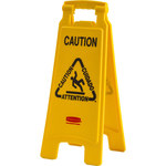Brady High Density Polypropylene V Shape Yellow Floor Stand Sign x 24.5 in Height - 104810, 92093