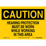 Brady B-558 Recycled Film Rectangle Yellow PPE Sign - 14 in Width x 10 in Height - 118262
