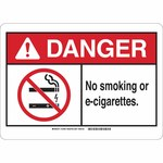 Brady B-120 Fiberglass Rectangle White No Smoking Sign - 20 in Width x 14 in Height - 143491