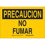 Brady B-555 Aluminum Rectangle Yellow No Smoking Sign - 10 in Width x 7 in Height - Language Spanish - 38437