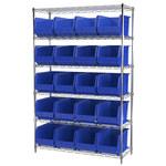 Akro-Mils Akrobin 2000 lb Adjustable Blue Chrome Steel Open Adjustable Fixed Shelving System - 24 Bins - 2000 lb Total Capacity - AWS184830260 BLUE