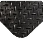 Wearwell Spongecote 414 Black Nitricell/PVC Diamond-Plate Anti-Fatigue Mat - 2 ft Width - 3 ft Length - 715411-26127