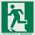 Brady Bradyglo B-324 Polyester Film Rectangle Green Emergency Exit Sign - 6 in Width x 6 in Height - Glow in the Dark - 59287