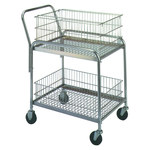 Shipping Supply Silver Mail Cart - 33 in x 20 in x 37.5 in - SHP-8553