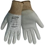Global Glove Samurai PUG417 Gray Large HDPE Cut-Resistant Gloves - ANSI 2 Cut Resistance - Polyurethane Palm & Fingers Coating - PUG417/LG