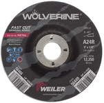 Weiler Aluminum Oxide Surface Grinding Wheel - 24 Grit - Coarse Grade - 5 in Diameter - 7/8 in Center Hole - 1/4 in Thick - 56466