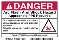Brady 102308 Black / Red on White Rectangle Polyester Arc Flash Label - 5 in Width - 3 1/2 in Height - B-302
