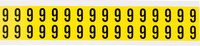 Brady 34 Series 3420-6 Black on Yellow Vinyl Cloth Number Label - Indoor - 9/16 in Width - 3/4 in Height - 5/8 in Character Height - B-498