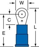 3M Scotchlok MVU14-6R/SK Blue Butted Vinyl Butted Ring Terminal - 0.8 in Length - 0.25 in Wide - 0.07 in Inside Diameter - #6 Stud - 01446