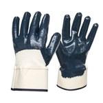 Armor Guys Duty 06-004 Blue/White Large Jersey Work Gloves - Nitrile Both Sides, 3/4 Back Coating - 06-004-L