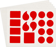 Brady Quik-Align 5120-PUN Red Vinyl Punctuation Label Kit - Outdoor - 3 in Height - 3 in Character Height - B-933