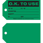 Brady 86761 Black on Green Cardstock Production Status Tag - 5 3/4 in Width - 3 in Height - B-853
