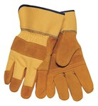 Tillman 1500YPP Brown Large Split Cowhide Canvas/Leather Work Gloves - Leather Palm & Fingers Coating - 9 in Length - Smooth Finish - 1500YPPB