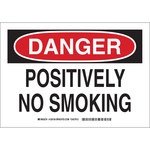 Brady B-555 Aluminum Rectangle White No Smoking Sign - 10 in Width x 7 in Height - 128154