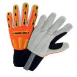 West Chester R2 Safety 86800 Orange/Gray Large Cotton Work Gloves - TPR Knuckles Coating - 86800/L
