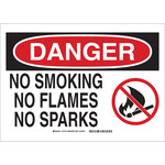 Brady B-555 Aluminum Rectangle White No Smoking Sign - 10 in Width x 7 in Height - 131731