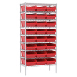 Akro-Mils Adjustable Red Gray Steel Open Adjustable Wire Shelving - 24 - AWS183630018 RED
