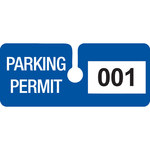 Brady Blue Vinyl Pre-Printed Vehicle Hang Tag 95205 - Printed Text = PARKING PERMIT - 4 3/4 in Width - 2 in Height - 754476-95205
