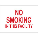 Brady B-555 Aluminum Rectangle White No Smoking Sign - 14 in Width x 10 in Height - 141956