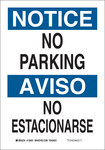 Brady B-555 Aluminum Rectangle White Parking Restriction, Permission & Information Sign - 7 in Width x 10 in Height - Language English / Spanish - 125049