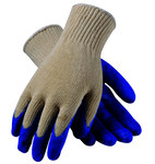 PIP 39-C122 Blue/White Large Cotton/Polyester/Knit Work Gloves - Latex Palm & Fingers Coating - 9.8 in Length - Smooth Finish - 39-C122/L