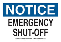 Brady B-555 Aluminum Rectangle White Shutoff Location Sign - 10 in Width x 7 in Height - 127032