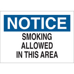 Brady B-120 Fiberglass Reinforced Polyester Rectangle White Smoking Area Sign - 10 in Width x 7 in Height - 72328