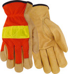 Red Steer 1600 Orange/Yellow Large Grain Pigskin Leather Driver's Gloves - Keystone Thumb - 1600-L