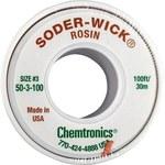 Chemtronics Soder-Wick #50 Green Rosin Flux Core Desoldering Braid - 100 ft Length - 0.08 in Diameter - Rosin Flux Core - 50-3-100