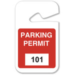 Brady Red Vinyl Pre-Printed Vehicle Hang Tag 96271 - Printed Text = PARKING PERMIT - 2 3/4 in Width - 4 3/4 in Height - 754476-96271