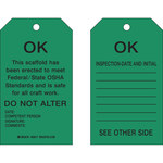 Brady 89017 Black on Green Polyester / Paper Scaffold Tag - 4 in Width - 7 in Height - B-837