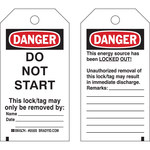Brady 65445 Black / Red on White Cardstock Lockout / Tagout Tag - 3 in Width - 5 3/4 in Height - B-853