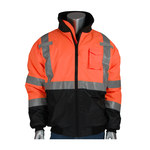 PIP Black/Orange Large Polyester Cold Weather Jacket - 5 Pockets - Quilted High Loft Polyfil Insulation - 616314-17808