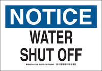 Brady B-555 Aluminum White Water Shut Off Sign - 10 in Width x 7 in Height - 127356