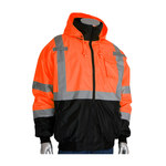 PIP 333-1766 High-Visibility Orange Large Polyester (Shell)/Polyurethane (Coating) Work Jacket - 5 Pockets - Attached Hood - Fits 28 in Chest - 616314-11896