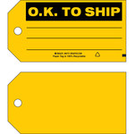 Brady 86773 Black on Yellow Cardstock Production Status Tag - 5 3/4 in Width - 3 in Height - B-853