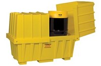 Eagle Yellow High Density Polyethylene 110 gal Spill Workstation - Supports 2 Drums - 60 in Width - 34 in Length - 46 in Height - 048441-60222