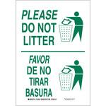 Brady B-555 Aluminum White Litter Sign - 7 in Width x 10 in Height - Language English / Spanish - 125529